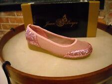 Joan Boyce Pink Glitter & Mesh Ballet Flats NEW