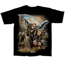 Grim Reaper 3 Skulls BLACK Adult T-shirt (slick CT99045)