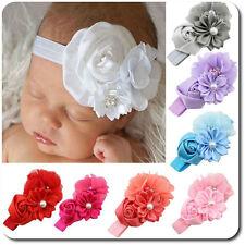 Haarband Blume Baby Mädchen Stirnband Kopfband Haarschmuck Rosa Satin Perlen