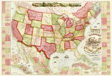 Old Railroad Map - American Union Railroads - Haasis 1866 - 23 x 34.08