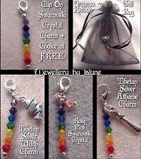 Chakra Clip On Charm Avec 7 cristaux swarovski ➕ Gratuit Sac/crystal/charme/Athame