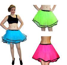Neon UV Pink Red Black Frill Trim Ruffle Tutu Petticoat Skirts Rave Clubwear