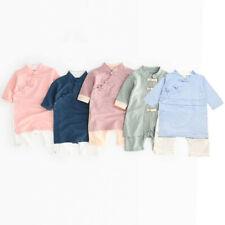 Newborn Baby Boy Girl Button Solid Romper Jumpsuit Kimono Clothes Nachtwäsche
