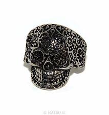 Acciaio Anallergico inossidabile anello UOMO donna TESCHIO skull 3D MESSICANO