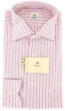 $450 Luigi Borrelli Pink Striped Cotton Shirt - Extra Slim - (TH)
