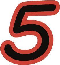 """X1 8 """"cifre (più in NEGOZIO EBAY) Corsa Numeri Adesivi in vinile stile 1 nero / rosso"""