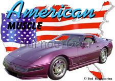 1996 Purple Chevy Corvette Custom Hot Rod USA T-Shirt 96 Muscle Car Tees