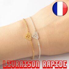 Bracelet Origami Strass Diamant Bijoux Géométrie Acier Inoxydable Idée Cadeau