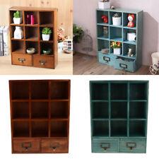 Retro 9-Cube Wooden Display Shelf With 2 Drawers Desk Storage Organizer