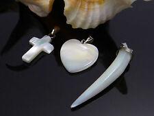 Perlmutt Zahn Herz Kreuz Muschel Anhänger mit Collierschlaufe Charm, A-244