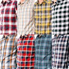 Men's Button Down Plaid Shirt Soft Cotton Slim New Kaiback Kickback