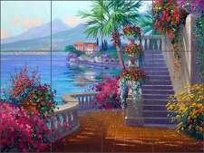 Ceramic Tile Mural Backsplash Senkarik Mediterranean Lake Como Scenic Art MSA067