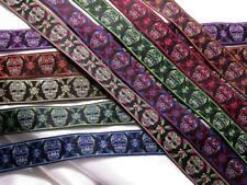 """1"""" (25 MM) calaveras de azúcar cinta del telar jacquar X 1 YD (approx. 0.91 m) (varios colores)"""