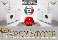 ARCKSTONE Mobile Lavatoio Copri Lavatrice Montegrappa Edilla Bianco 109X60X89 cm