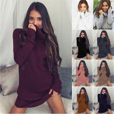 2019 Womens Cowl Neck Loose Long Sleeve Oversize Sweater Jumper Shirt Tops Dress