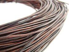 Lederschnur (ab 0,43€/m) Rund 2 mm. Antik Braun. Lederband. Länge: wählbar