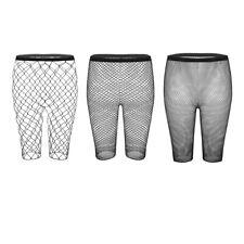 Womens Ladies High Waisted Fishnet Mesh Half Legging Shorts hot pants Stockings