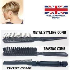 Professional UNTANGLE Twist Teasing Metal Styling Comb Black Metal Smooth New