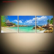 Large Modern Contemporary Canvas Wall Art Print Painting blue Seascape Beach