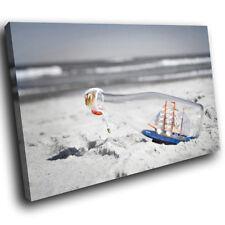 SC605 Blue Orange Grey Ship Beach Landscape Canvas Wall Art Large Picture Prints