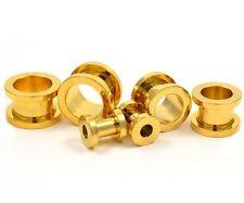 """PAIR of GOLD-TONE IP STEEL SCREW FLESH TUNNEL PLUGS EAR PIERCING GAUGES 8g-1"""""""