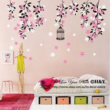 Colour Vine Flowers Wall Sticker Vinyl Decal Kid Nursery Baby Decor Custom Name