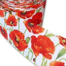 Buddly Crafts amapolas impresión cinta del grosgrain