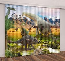 Wild Dinosaur World Child Room Window Curtain Mural Blockout Drape Fabric Decor