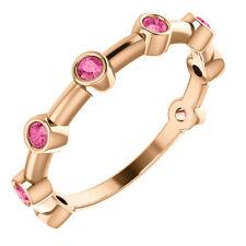 Genuine Pink Tourmaline Bezel Set Bar Ring In 14K Rose Gold