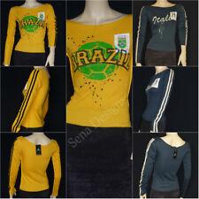 Womens Ladies Retro Brazil Italy Football Cotton Blend L/S t-shirt Free P&P