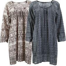 HIPPIE TUNIC DRESS TOP ETHNIC STYLE COTTON PRINT 2 Colours & Sizes