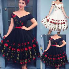 AU Women Vintage 50s Cocktail Floral Skater Ladies Evening Party Midi Prom Dress