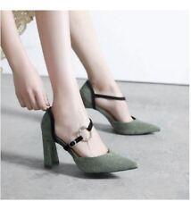 decolte scarpe donna verde tacco quadrato 9 cm simil pelle eleganti 9683