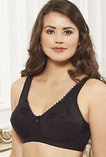 ROYCE Grace Firm Support FULL BRA in BLACK Cotton Wireless FREEPOST UK