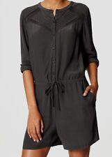 Ann Taylor LOFT Lacy Drawstring Romper Size XX-Small Petite, Small, X-Large Grey