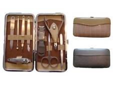 Set manicure/pedicure in custodia imbottita, acciaio, 9 articoli, marrone chiaro o nero