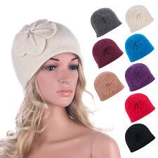 Womens GATSBY 1920s Winter Wool Cap Beret Beanie Bucket Floral Hat A289