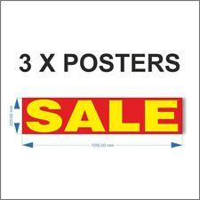 3 x SALE POSTER, for shop window sale sign sale banner. POS retail