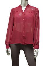 Womens Burgundy High Low Size L Stripe Back Button Down Top Shirt New