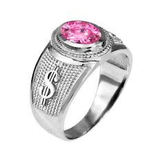 Sterling Silver Cash Money Dollar Sign Band October Birthstone Pink CZ Ring