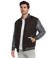 9 Crowns Essentials Men's Snap-Close Letterman Varsity Jacket