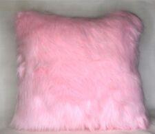 pink faux fur sheepskin girly throw pillow square or rectangle handmade usa
