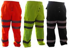 Mens Hi Vis Cargo Combat Reflective Safety Jogging Bottom Trouser Workwear S-3XL