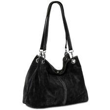 CASPAR TL621 Bolso de Mano Mujer Señora Piel Ante Italia Bolso de Hombro Shopper