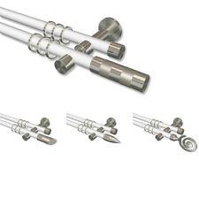 Weiße Gardinenstangen mit Edelstahl-Optik in 20 mm Ø, 2-läufig mit Ringen