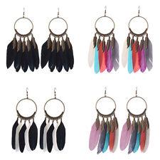 Women Bohemian Round Bronze Carved Feather Tassel Women Boho Hook Earrings