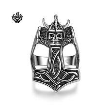 skull Thor's Hammer half finger band Silver bikies ring solid stainless steel