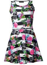 Tropical Floral Pineapple Skull Monochrome Stripe Print Alternative Skater Dress