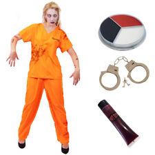 ADULTS ZOMBIE PRISONER COSTUME HALLOWEEN LADIES DEAD CONVICT SCARY FANCY DRESS