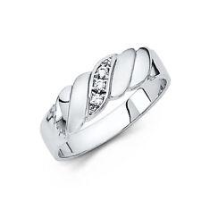 14k Solid White Gold 6 mm Round Cut Diamond Men's Wedding Band Ring